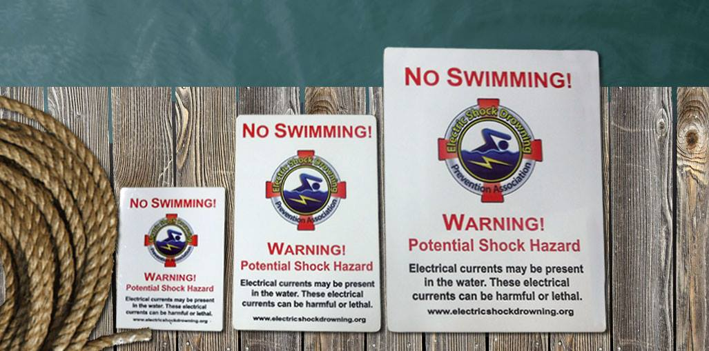 Electric Shock Drowning Prevention Association No Swimming Signs